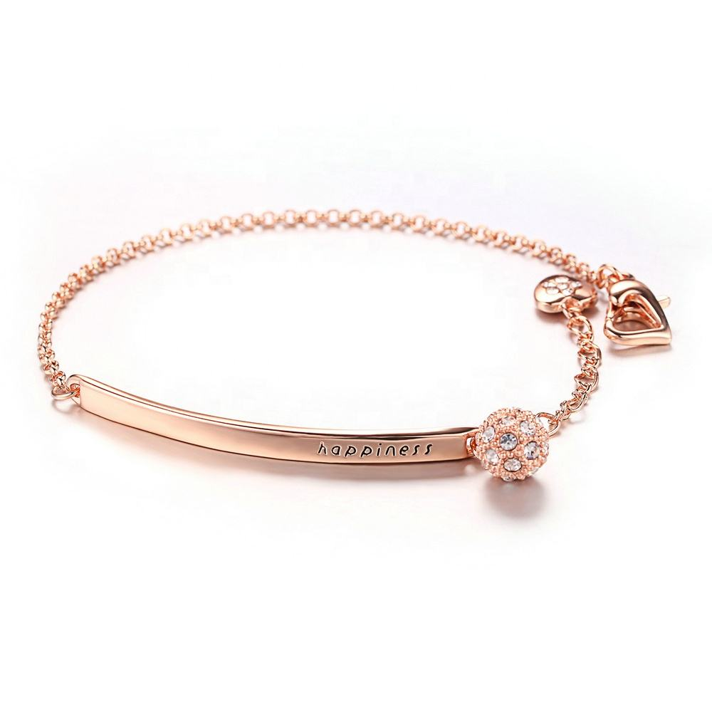 Wholesale Cheap Personalised Jewellery Fancy 18K Rose Gold Plated Wrist Thin Chain Bar Bracelet for Girls H196