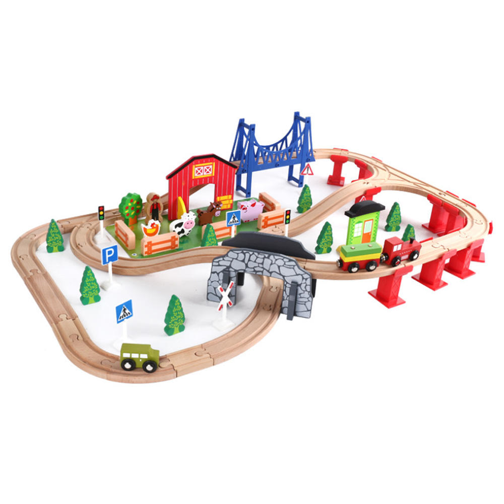 slot toys train with track play railway DIY wooden track train set toys for children