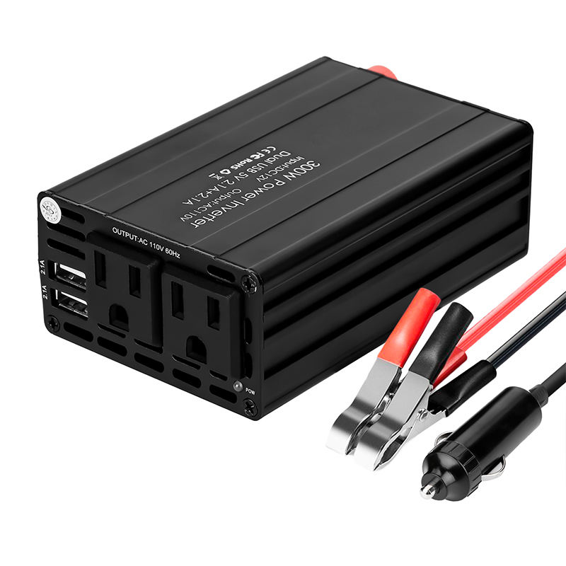 300W Car Power Inverter Adapter DC 12V to 110V AC with Dual Outlets & Dual USB Ports
