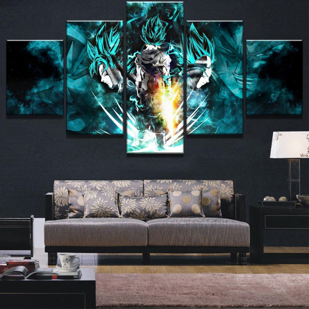 HD Print Dragon Ball Super Goku And Vegeta Poster Home Decorations 5 pcs print canvas painting