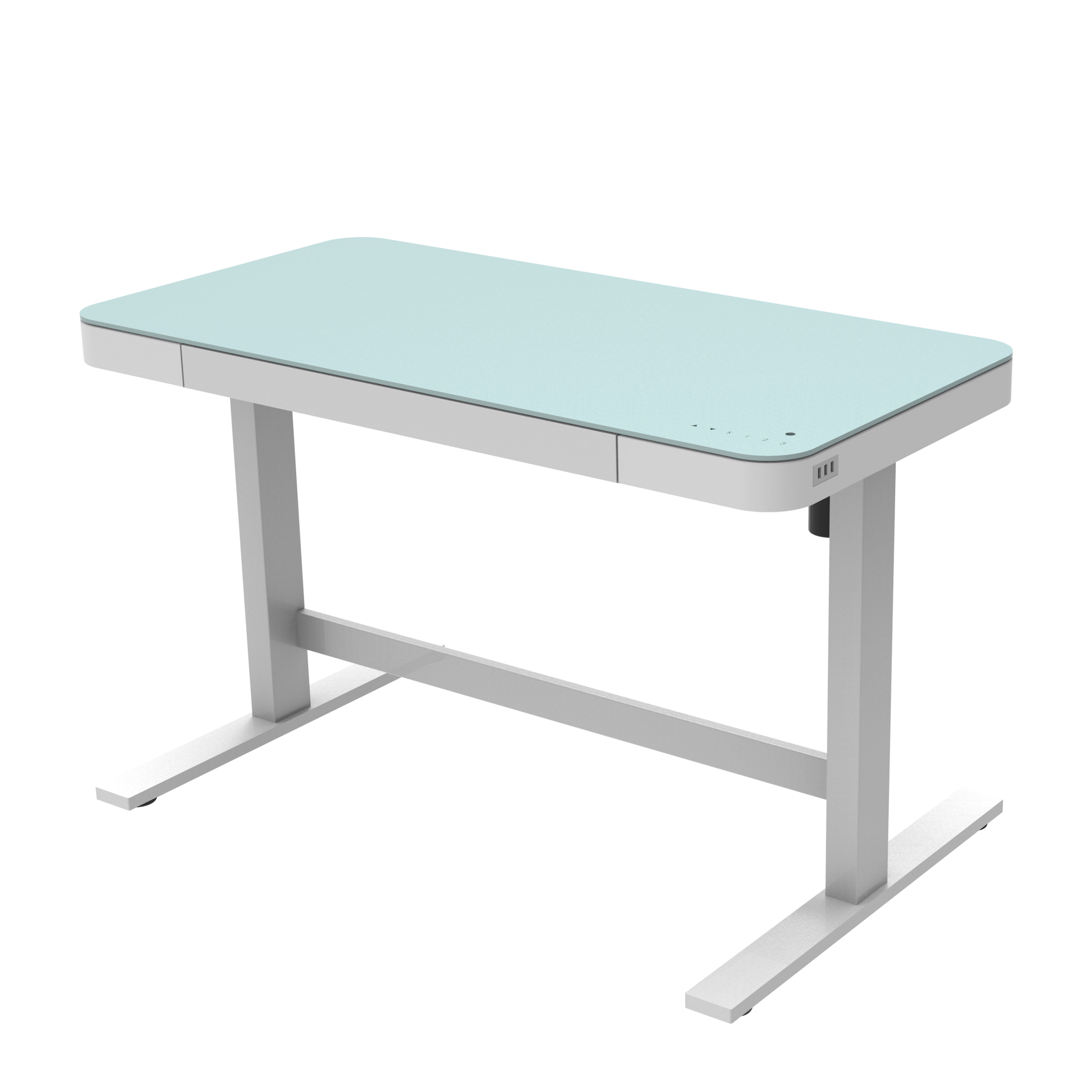 Modern Home Office Work at Home Glass Top Sit Standing Height Adjustable Electric Table Desk for Kids Children