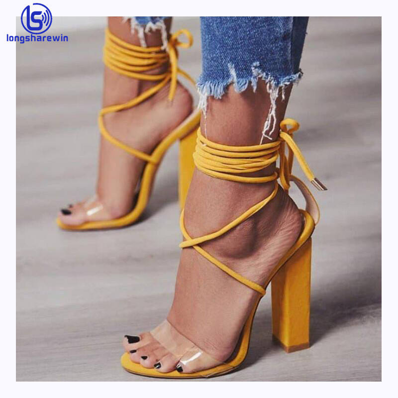 china cheap price Wholesale ladies sandals heels lace up stylish high heel sandals for women