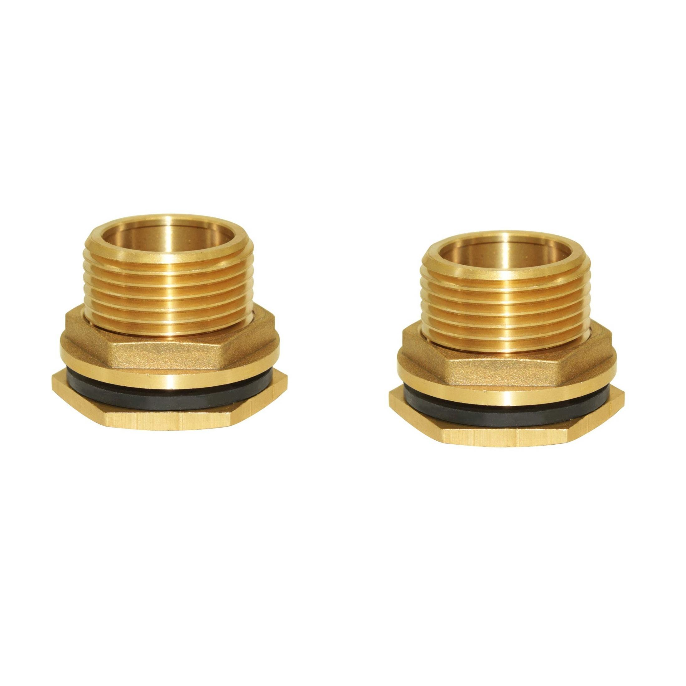 Brass Bulkhead Fitting No Female Water Tank Connector Threaded with Rubber Ring