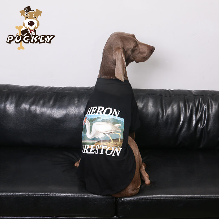 pet apparel & accessories clothing dog shirts for large dogs black cotton dog print t-shirt