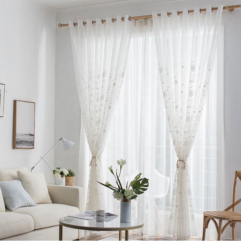 Cheap new embroidery flora elegant turkish design white semi sheer tulle curtains for living room