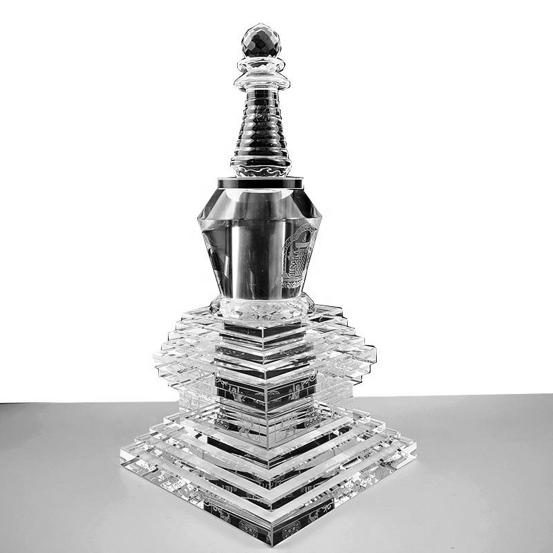 DILU Großhandel Religiöse <span class=keywords><strong>Kristall</strong></span> Pagode Stupa Glas Dagoba Turm für Tempel Fengshui Buddha Statue Buddhismus Dekoration