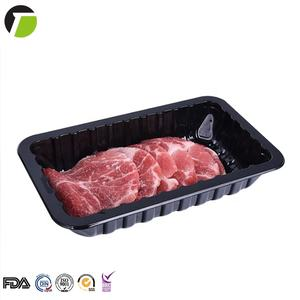 Custom black plastic blister supermarket fruit vegetable meat packing disposable frozen food packaging pp fresh meat tray