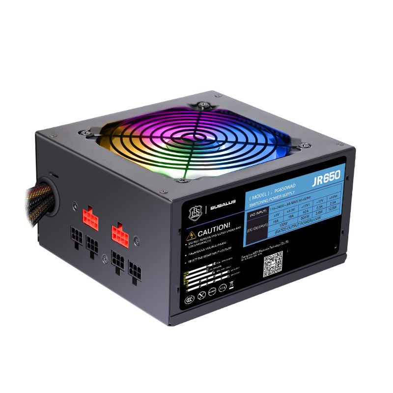 High Efficiency Computer ATX 500W RGB LED 12cm Fan PC Power Supply 80+ Wide Voltage