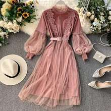 Elegant Embroidered Lace Velvet Dress For Women