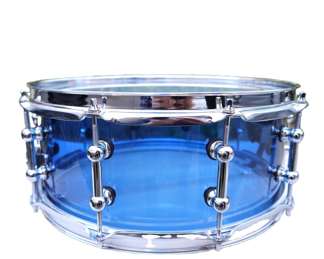 Acrylic Snare Drum with Tube Lugs Blue Color
