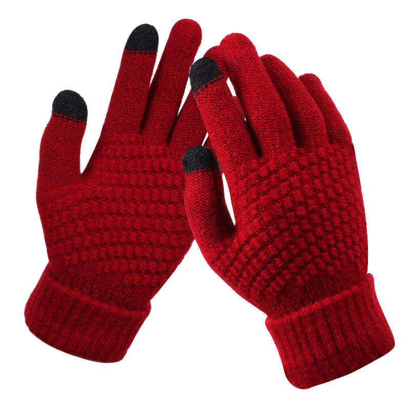 Customize Acrylic Winter Touchscreen Magic Gloves Women Men Warm Stretch Knitted Wool Mittens Touch Screen Gloves
