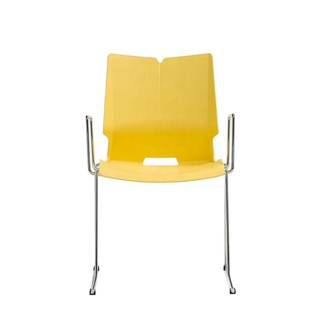 Modern yellow plastic meeting conference room chairs for office visitor