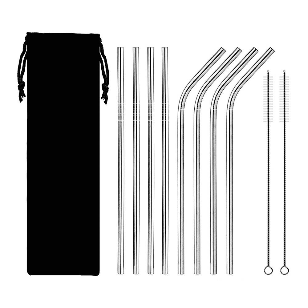 Wholesale Eco-friendly Stainless Steel Drinking Straw 8 Piece Pack with Case Straight and Bent Custom Reusable Metal Straws Set
