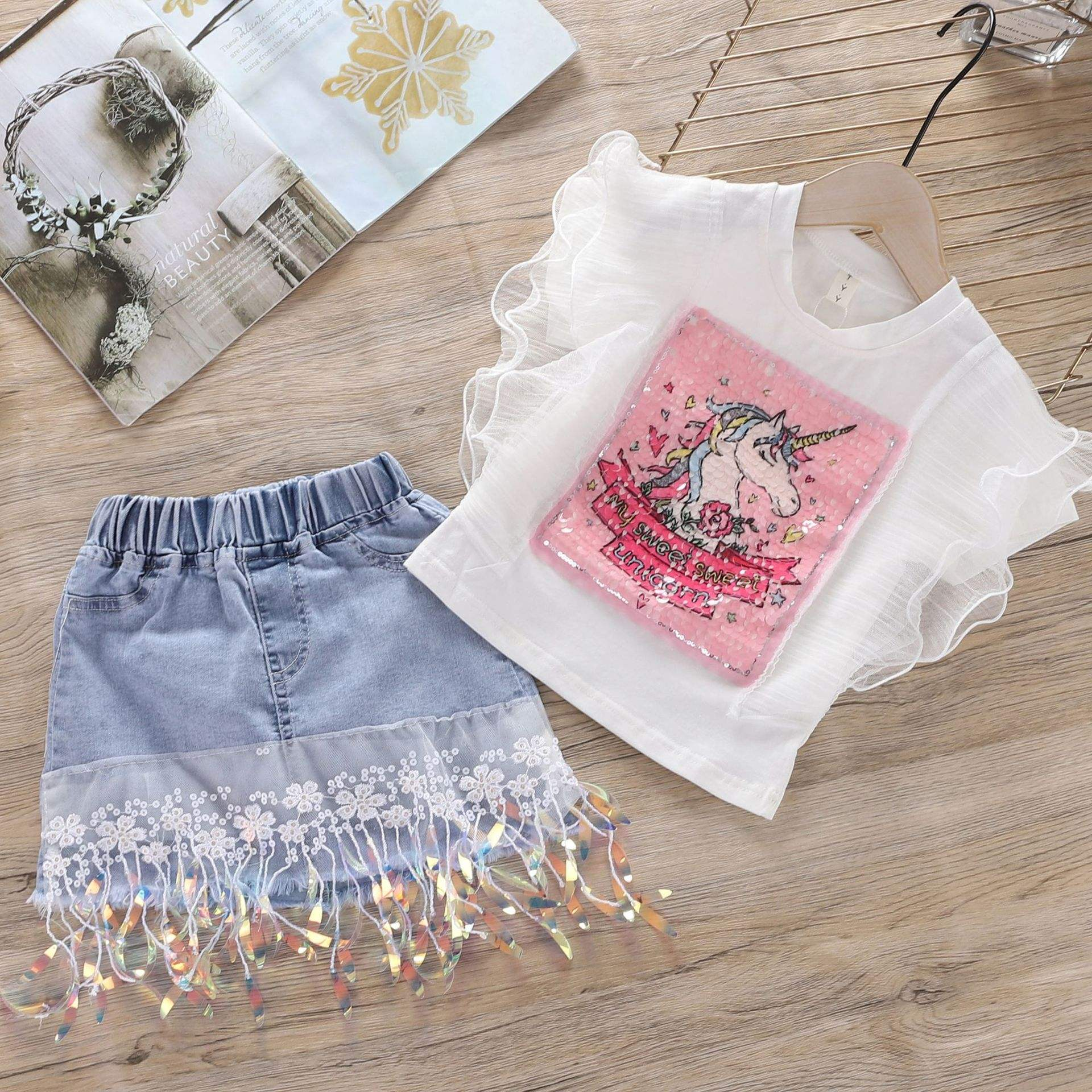 2021 Summer Clothing for girls fashionable sets children's suit cartoon print lace top + denim sequin skirt sets