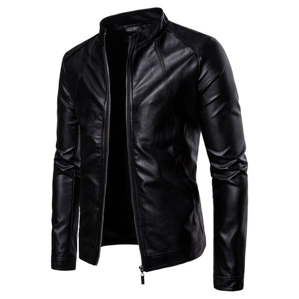 Men's Autumn Winter Fashion Motorcycle PU Jacket Coat Male Business Leather Jackets