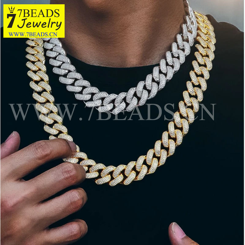 7BEADS 18mm Iced Out Cuban Link Necklace Chains for Men Gold Rhodium Plated Micro Pave CZ Luxury Men's Hip Hop Jewelry Wholesale