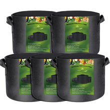5 Pack 3 5 7 10 15 20 25 30 100 Gallon Non Woven Planter Grow Bags Aeration Fabric Pots Garden Potato felt grow bags