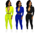 2020 Hot Sale Fall Zipper Crop Top Solid Skinny Pant Women 2 Piece Set Clothing Womens 2 Piece Outfit