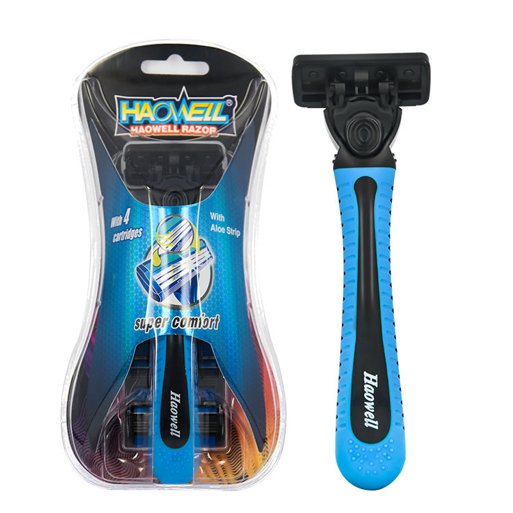 HW-B378DL Disposable Triple blade razor china 1pc with cartridge /blister packing fast delivery soft rubber handle china