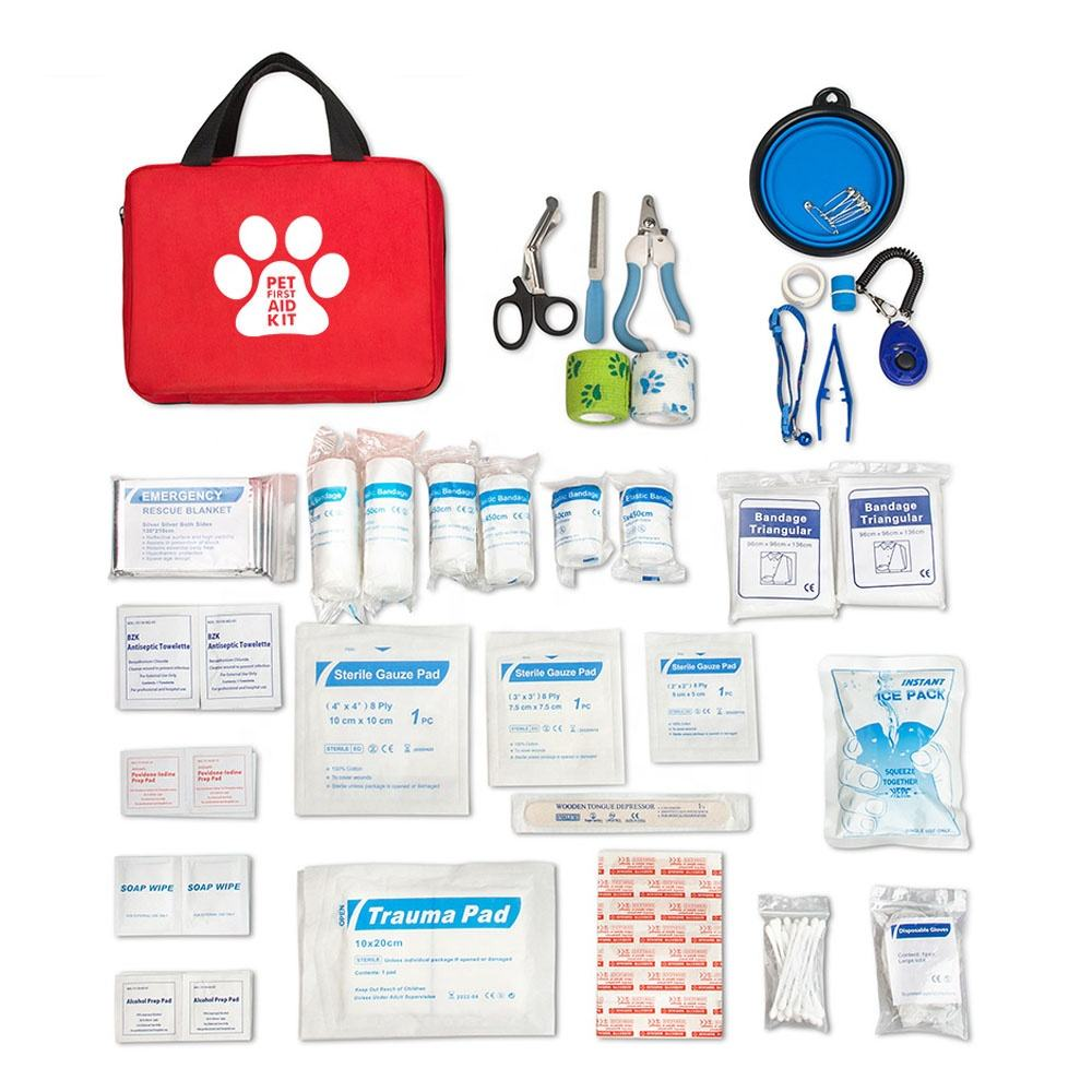 Risen 2020 New Design 2 In 1 Pet First Aid Kit 103 Pieces Set Dog Cat Care Kit Training Accessories