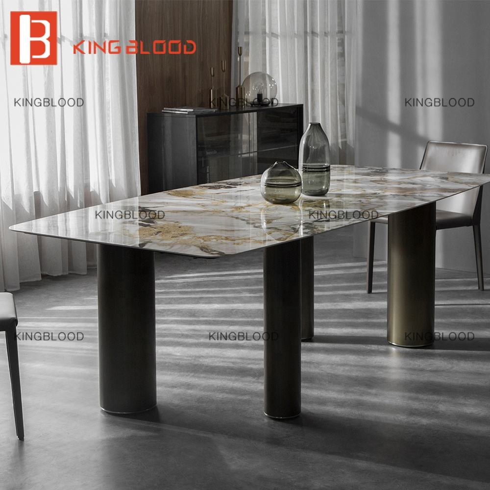 luxury ceramic stainless steel dining table set modern 6 chairs dining room furniture