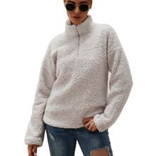 Womens 2020 Fall Winter Clothes Quarter Zip Sherpa Pullover Hoodie Warm Loose Fuzzy Outwear Fleece Sweatshirt Fluffy Coats