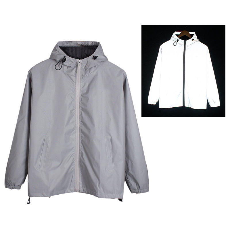 Custom 3M Reflective Soft Shell Plain Fashion Design Windbreaker Waterproof Unisex Night Cycling Safe Coat Hoodies Jacket