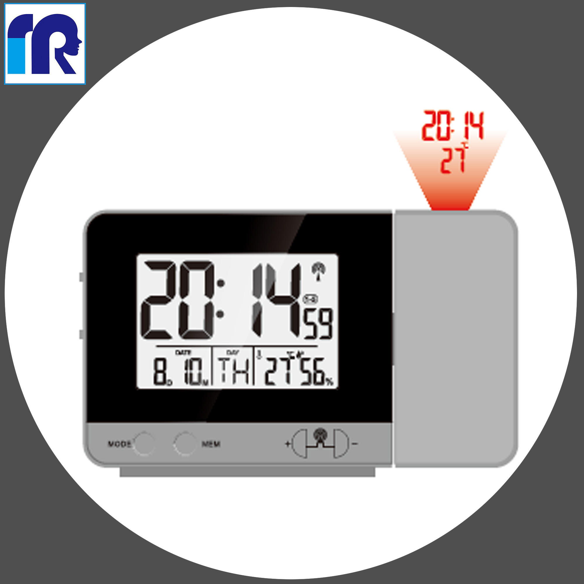 DCF Radio controlled clock Projection and 180 switch Display time temperature Two alarm Digital Projection Clock