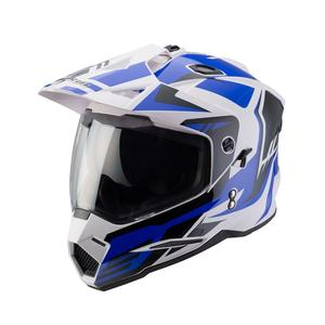 New arrival latest China full face cross helmet with PC visor WITH BLUE GRAPHIC