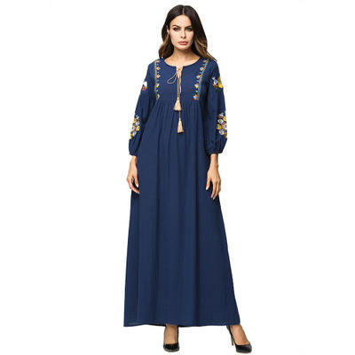 Mideast Europe Ladies Wear Women Casual Plus Size Long Stripe Dresses Loose O Neck Long Sleeve Maxi Dress