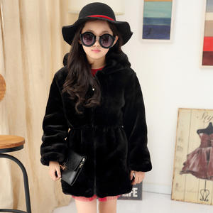 Winter Girls Faux Fur Coat Slim Hooded Warm Jacket Long Coat For Kids Soft Outwear