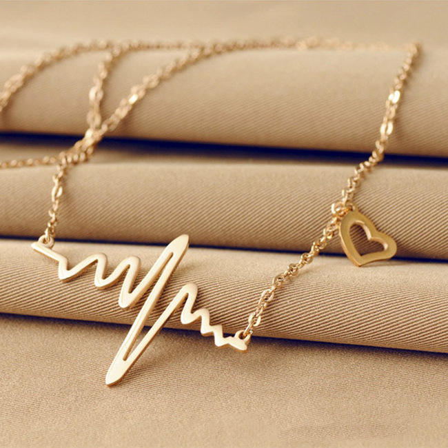 High Quality Electrocardiogram Choker Necklaces Heart Rose Gold Women Jewelry Necklace Valentine's Day Gifts