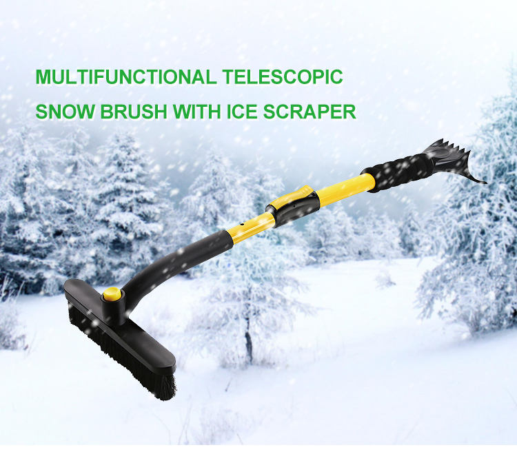 Heavy Duty Snow Remover Rotatable Brush Head Extendable Snow Broom With Pivoting Head And Ice Scraper