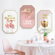 Custom modern heart flamingo abstract pattern oil paintings with golden frame cute pink painting