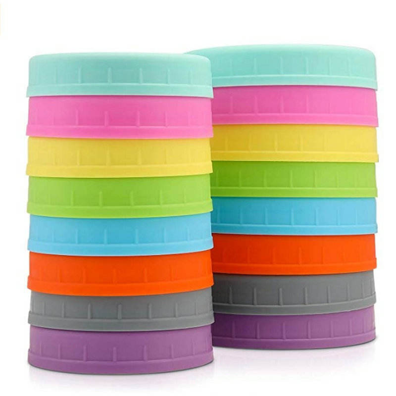 Avertan xuzhou plastic screw cap 16 Pack Colored Plastic Mason Jar Lids Fits Ball Wide Mouth with Silicone Rings