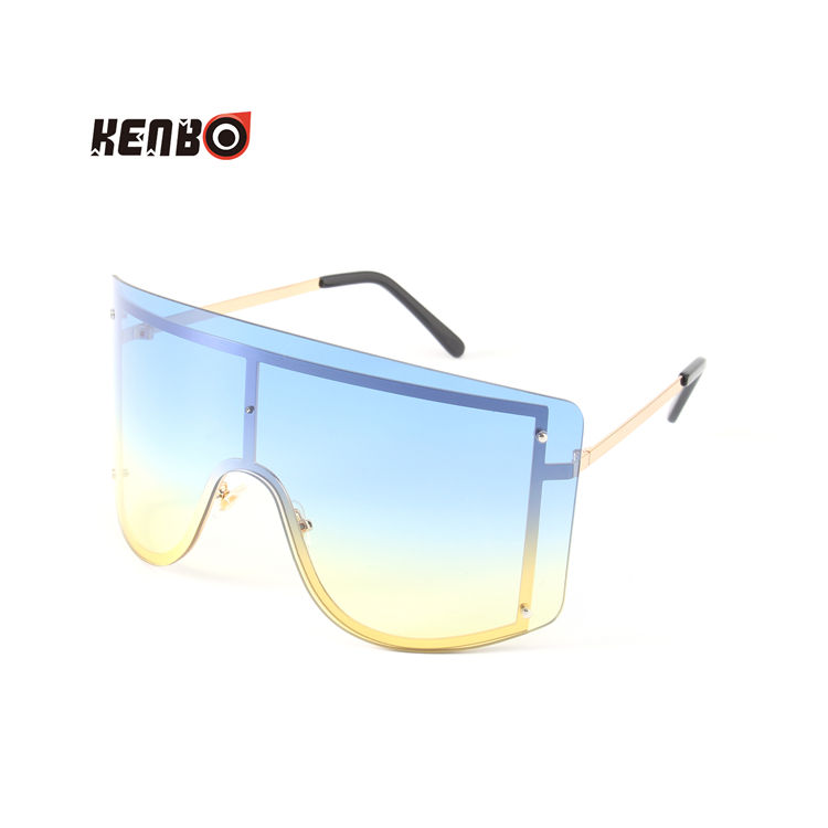 Kenbo Fashion Metal Shield one piece Lens Shades Sunglasses Oversized Women Sunglasses 2020