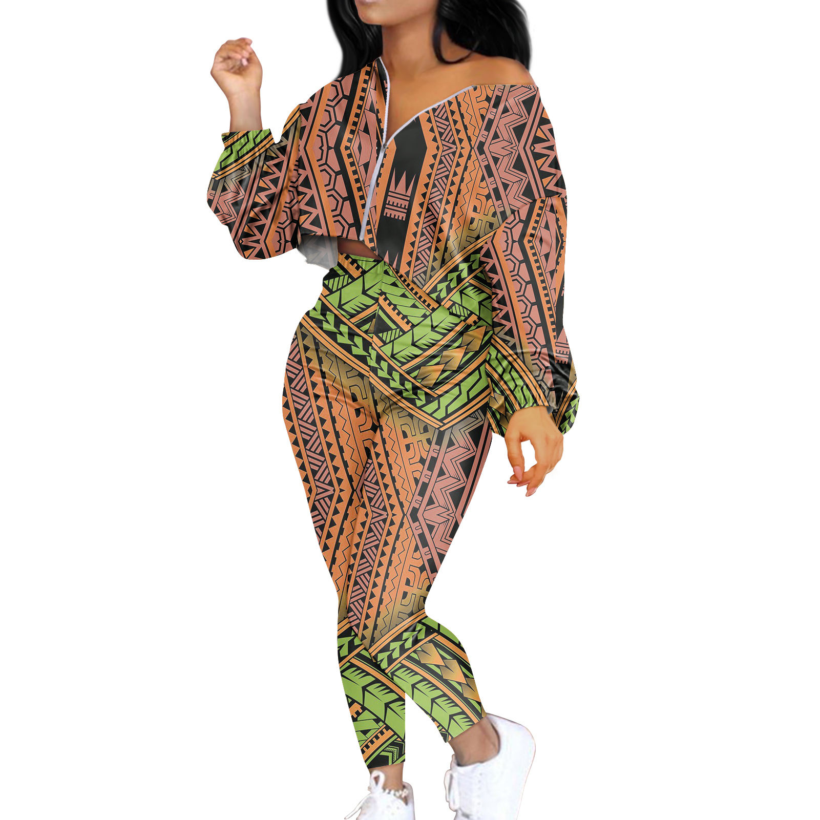 New Design Mix Color Polynesian 2 Piece Set Womens Outfits Long Coat & Pant Lounge Set For Ladies Plus Size European Clothing