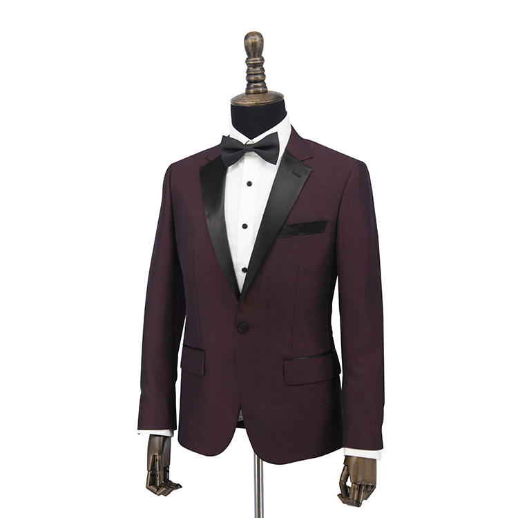 OEM su misura su misura smoking del vestito borgogna di controllo sottile da uomo di taglio fit vestito