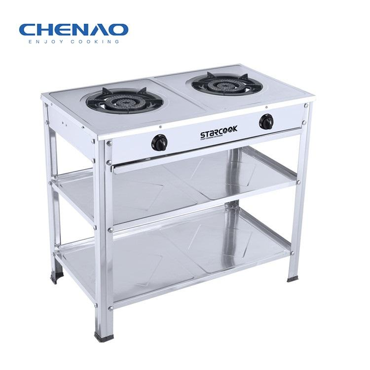 Stainless steel double burner big power Plenty of storage space Enamel fire frame general stand gas gas cooker