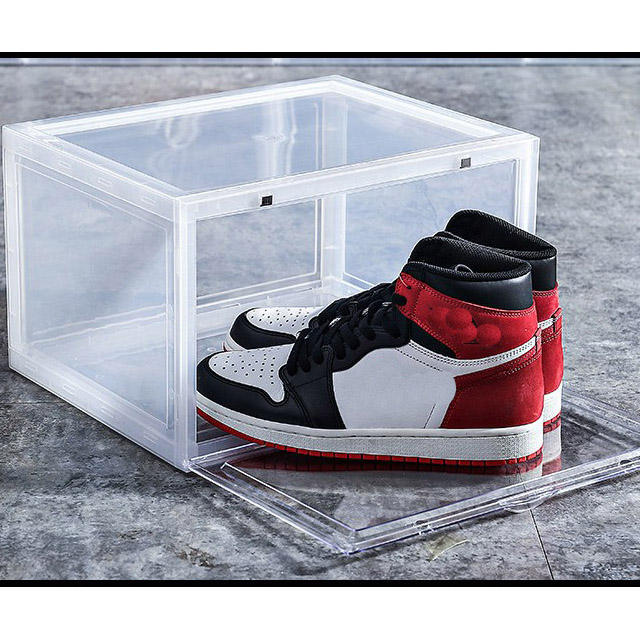 Custom transparent clear foldable drop front acrylic plastic detachable sneaker box high-heel shoes display box for shop