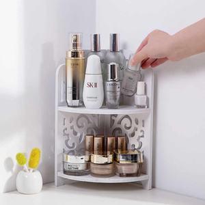 2 Layers Hollow Bathroom Corner Cosmetic Organizer Shelf Landing Tripod Plastic Wood Bathroom Shower Gel Caddy Storage Rack