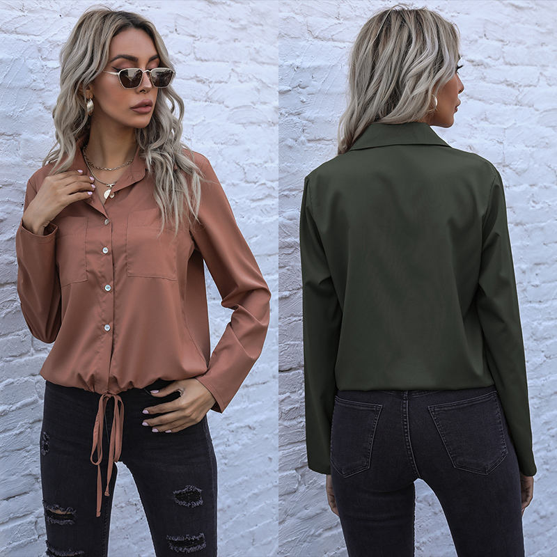 Casual Solid Color Shirt Women 2021 Spring New Lapel Single-breasted Cardigan Shirt
