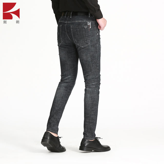 Men's Black Cotton Sweat Absorbing Fabric Straight Cylinder Jeans