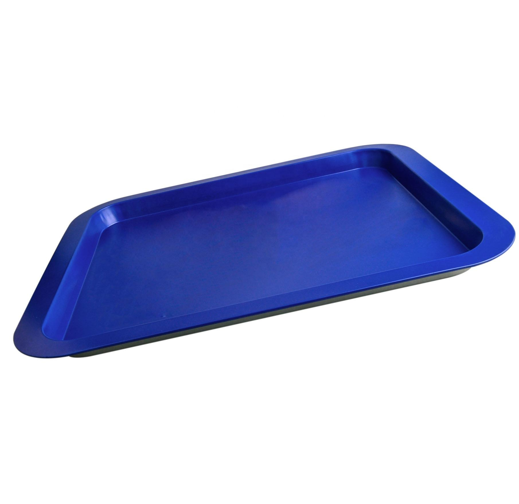 Plain rectangle food serving eco friendly medium size christmas metal blank tin trays in bulk