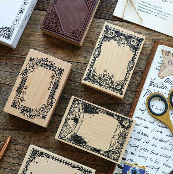 Retro Frame Standard Wood Stamp Wooden Rubber Stamp Marker For Scrapbooking Stationery DIY Craft Seal