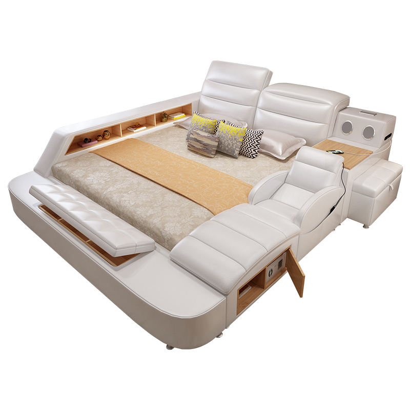 Multifunction storage tatami beds with massage music design Modern Platform Tufted Leather Smart bedroom furniture