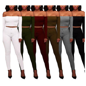 Fashion sexy two piece outfits off shoulder fall clothing for women