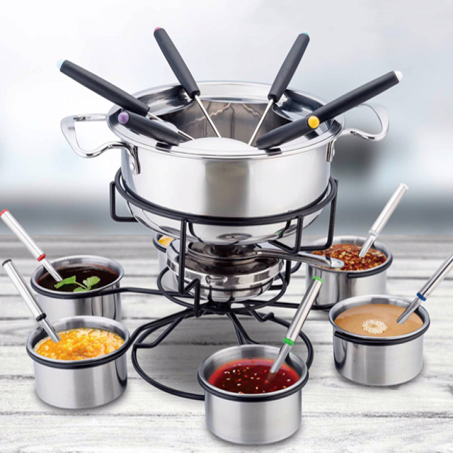modern fondue set stainless steel Chocolate Cheese Fondue Set fondue set with forks