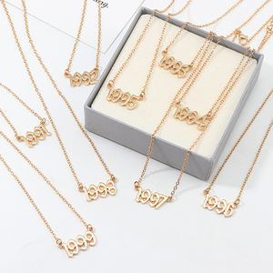 2020 Newest Hot Babygirl Letter Digital Birth Year Gold Plated Number Necklace Gift For Women