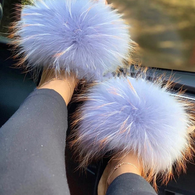2021 fur ladies slippers natural fox fur luxury home furry flat sandals cute fluffy indoor non-slip women slippers